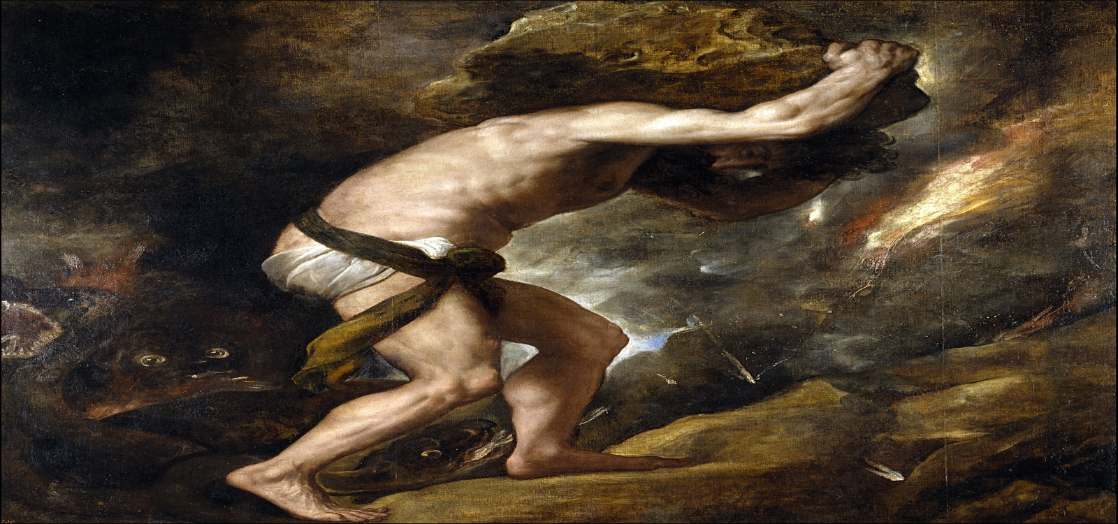 Sisyphus pushing his rock up the hill